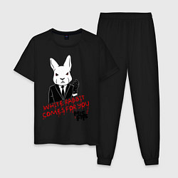 Пижама хлопковая мужская Misfits: White rabbit цвета черный — фото 1