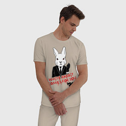 Пижама хлопковая мужская Misfits: White rabbit цвета миндальный — фото 2