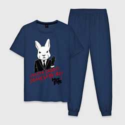 Пижама хлопковая мужская Misfits: White rabbit цвета тёмно-синий — фото 1