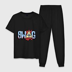 Пижама хлопковая мужская SWAG Eye цвета черный — фото 1