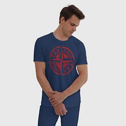 Пижама хлопковая мужская Taknado: Stone Island цвета тёмно-синий — фото 2