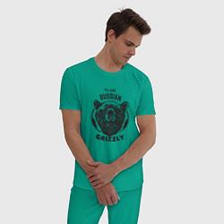 Пижама хлопковая мужская Russian Grizzly цвета зеленый — фото 2