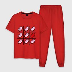 Пижама хлопковая мужская Minecraft Hearts цвета красный — фото 1