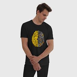 Пижама хлопковая мужская Мозг инженера цвета черный — фото 2