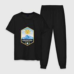 Пижама хлопковая мужская Argentina Soccer цвета черный — фото 1