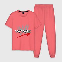 Пижама хлопковая мужская WWE Fight цвета коралловый — фото 1