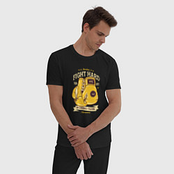 Пижама хлопковая мужская Fight Hard 1901 цвета черный — фото 2