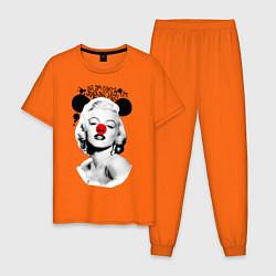 Пижама хлопковая мужская Мэрилин Монро клоун цвета оранжевый — фото 1