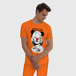 Пижама хлопковая мужская Мэрилин Монро клоун цвета оранжевый — фото 2