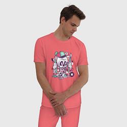 Пижама хлопковая мужская Уличный художник цвета коралловый — фото 2