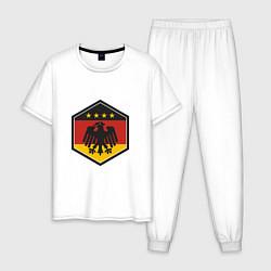 Пижама хлопковая мужская Немецкий фанат цвета белый — фото 1