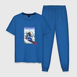 Пижама хлопковая мужская Лыжный Спорт цвета синий — фото 1
