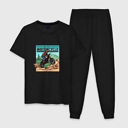 Пижама хлопковая мужская Ride Your Motorcycle цвета черный — фото 1