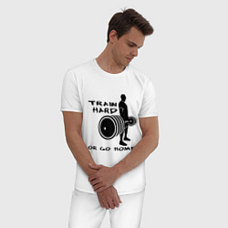 Пижама хлопковая мужская Train hard or go home цвета белый — фото 2