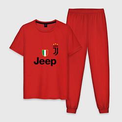 Пижама хлопковая мужская Ronaldo: Juve Sport цвета красный — фото 1