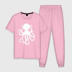 Пижама хлопковая мужская Кракен-осьминог цвета светло-розовый — фото 1