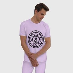 Пижама хлопковая мужская Slipknot Pentagram цвета лаванда — фото 2