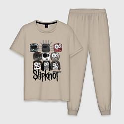 Пижама хлопковая мужская Slipknot Masks цвета миндальный — фото 1