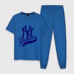 Пижама хлопковая мужская NY - Yankees цвета синий — фото 1