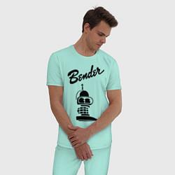 Пижама хлопковая мужская Bender monochrome цвета мятный — фото 2