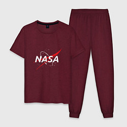 Пижама хлопковая мужская NASA: Space Arrow цвета меланж-бордовый — фото 1