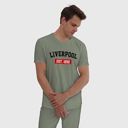 Пижама хлопковая мужская FC Liverpool Est. 1892 цвета авокадо — фото 2