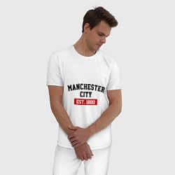 Пижама хлопковая мужская FC Manchester City Est. 1880 цвета белый — фото 2