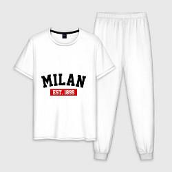 Пижама хлопковая мужская FC Milan Est. 1899 цвета белый — фото 1