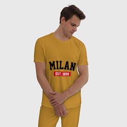 Пижама хлопковая мужская FC Milan Est. 1899 цвета горчичный — фото 2