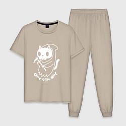 Пижама хлопковая мужская Кот-смерть цвета миндальный — фото 1