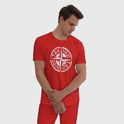 Пижама хлопковая мужская Taknado Stone Island цвета красный — фото 2