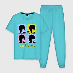 Пижама хлопковая мужская The Beatles: pop-art цвета бирюзовый — фото 1