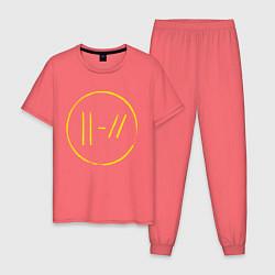 Пижама хлопковая мужская Twenty One Pilots: Trench цвета коралловый — фото 1