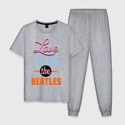Пижама хлопковая мужская Love peace the Beatles цвета меланж — фото 1