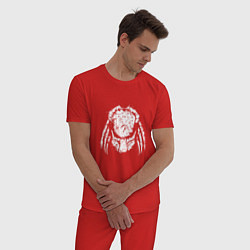 Пижама хлопковая мужская Злобный хищник цвета красный — фото 2