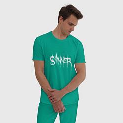 Пижама хлопковая мужская Real Sinner цвета зеленый — фото 2