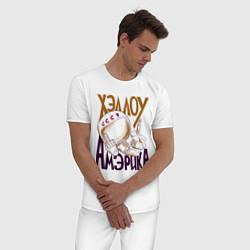 Пижама хлопковая мужская Хэллоу Амэрика цвета белый — фото 2