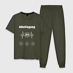 Пижама хлопковая мужская Marshmello: Mellogang цвета меланж-хаки — фото 1