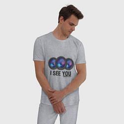 Пижама хлопковая мужская I see you цвета меланж — фото 2