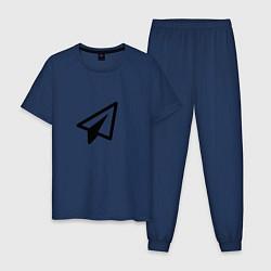Пижама хлопковая мужская Самолетик цвета тёмно-синий — фото 1