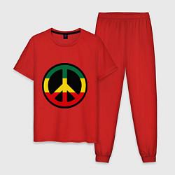 Пижама хлопковая мужская Peace Symbol цвета красный — фото 1