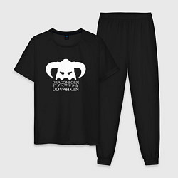 Пижама хлопковая мужская TES: Dovahkin цвета черный — фото 1