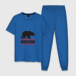 Пижама хлопковая мужская Moscow Bear цвета синий — фото 1