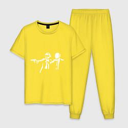 Пижама хлопковая мужская Daft Punk цвета желтый — фото 1