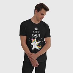 Пижама хлопковая мужская Keep Calm & Dab Unicorn цвета черный — фото 2