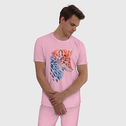 Пижама хлопковая мужская Пестрая лисица цвета светло-розовый — фото 2