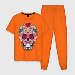 Пижама хлопковая мужская Oldschool skull цвета оранжевый — фото 1