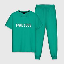 Пижама хлопковая мужская FAKE LOVE цвета зеленый — фото 1