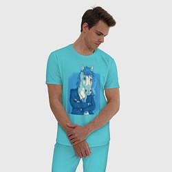 Пижама хлопковая мужская Лошадь-бизнесмен цвета бирюзовый — фото 2