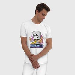 Пижама хлопковая мужская Marshmello Music цвета белый — фото 2